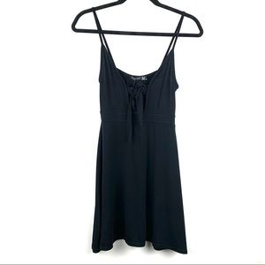 NASTY GAL Tie Front Flippy Black Skater Dress NWT